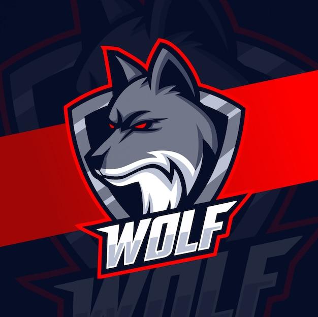 Diseño de logotipo de lobo mascota esport
