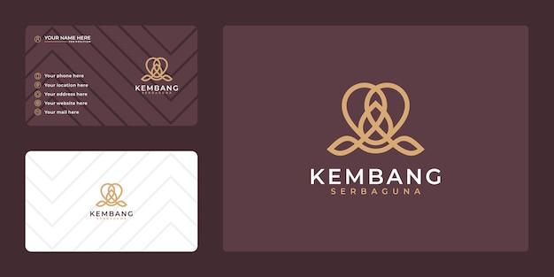 Diseño de logotipo de loto de lujo abstracto y tarjeta de visita