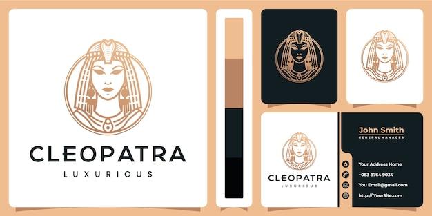 Diseño de logotipo de lujo de cleopatra con plantilla de tarjeta de visita