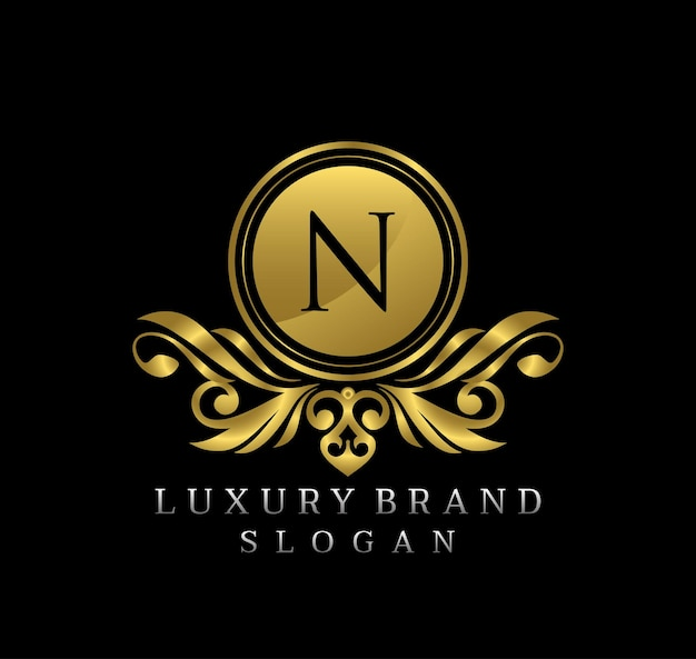 Diseño de logotipo de lujo elegante gold bagde letra n