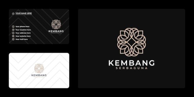 Diseño de logotipo de lujo femenino, flor de belleza y tarjeta de visita.