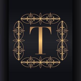 Diseño de logotipo de lujo de letra t
