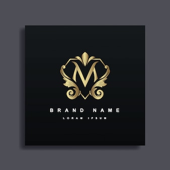 Diseño de logotipo de lujo con monograma letra m, color dorado, estilo decorativo de lujo florecer