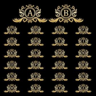 Diseño de logotipo de lujo, plantilla inicial de conjunto de letras