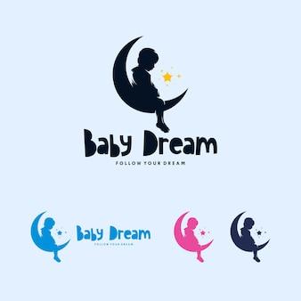Diseño de logotipo de luna colorida y bebé soñando