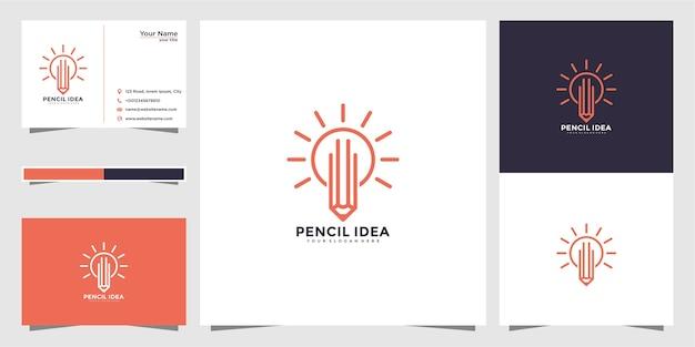 Diseño de logotipo de luz y lápiz con estilo de línea y tarjeta de visita.