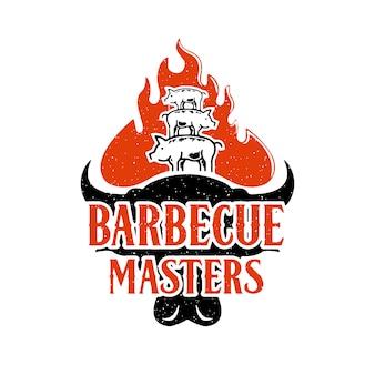 Diseño de logotipo de maestros de barbacoa