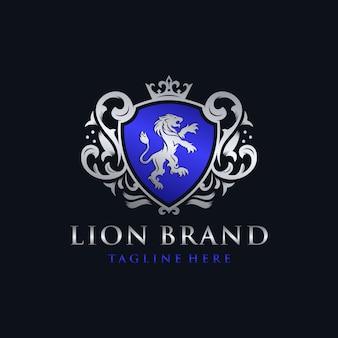 Diseño de logotipo de la marca heráldica león