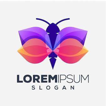 Diseño de logotipo de mariposa colorida abstracta