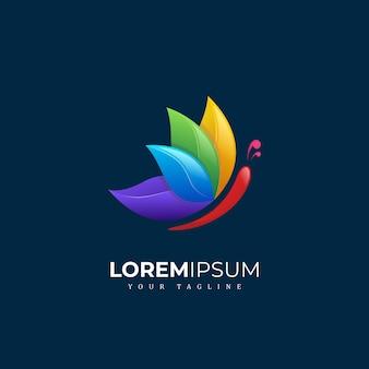Diseño de logotipo de mariposa colorida