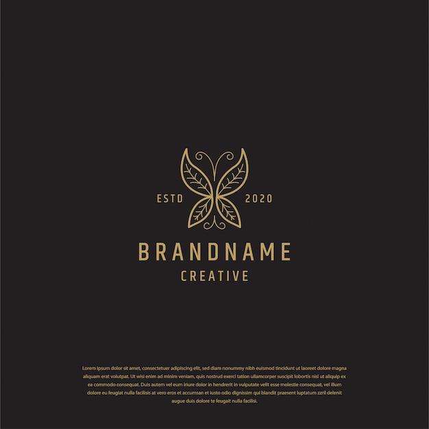 Diseño de logotipo de mariposa dorada