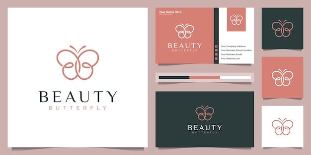 Diseño de logotipo de mariposa y tarjeta de visita. concepto de logotipo de belleza con estilo de trazador de líneas de bucle infinito.
