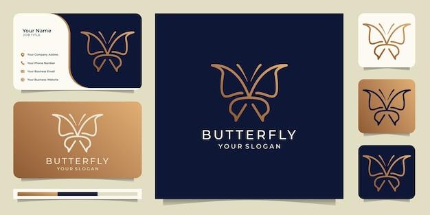 Diseño de logotipo de mariposa con tarjeta de visita, plantilla de logotipo de estilo de arte lineal.