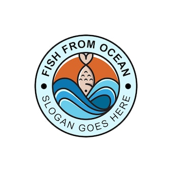 Diseño de logotipo de mariscos frescos y pescados del océano.