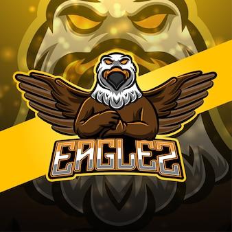 Diseño de logotipo de mascota águila deportiva