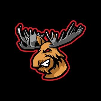 Diseño de logotipo de mascota alce