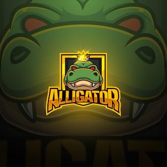 Diseño de logotipo de la mascota de alligator esport