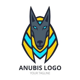 Diseño de logotipo de mascota anubis vecto