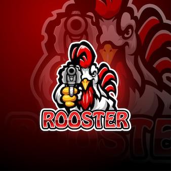 Diseño de logotipo de mascota de artilleros de gallo