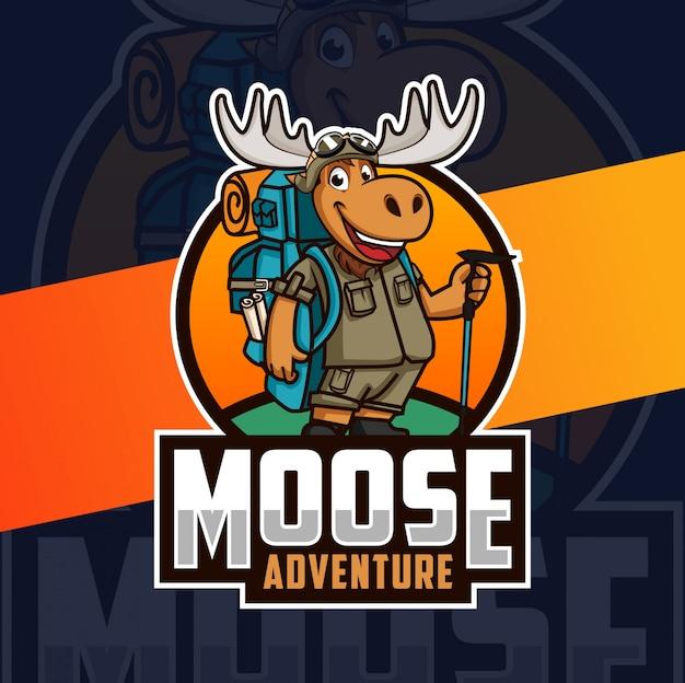 Diseño de logotipo de mascota de aventura de alces