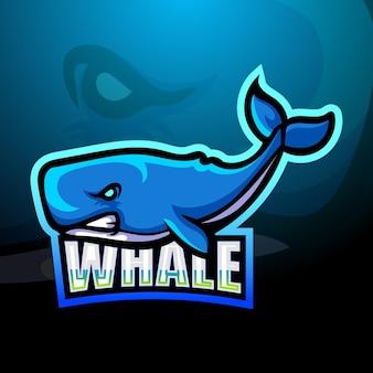 Diseño de logotipo de mascota ballena