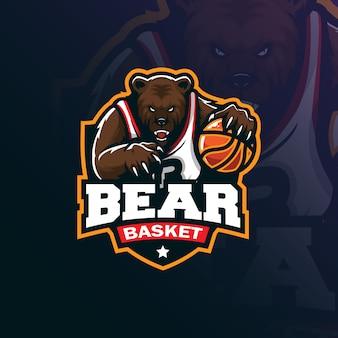 Diseño de logotipo de mascota de baloncesto oso con estilo de concepto de ilustración moderna para impresión de insignia, emblema y camiseta.