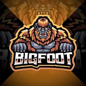 Diseño de logotipo de mascota bigfoot esport