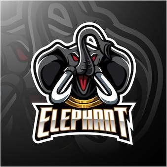 Diseño de logotipo de mascota cabeza de elefante