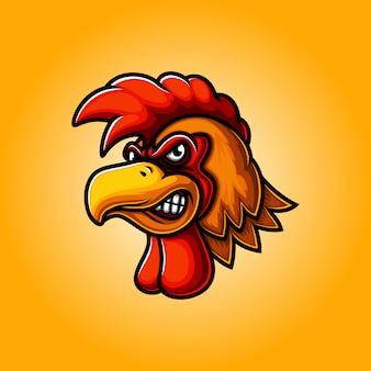 Diseño de logotipo de mascota de cabeza de gallo
