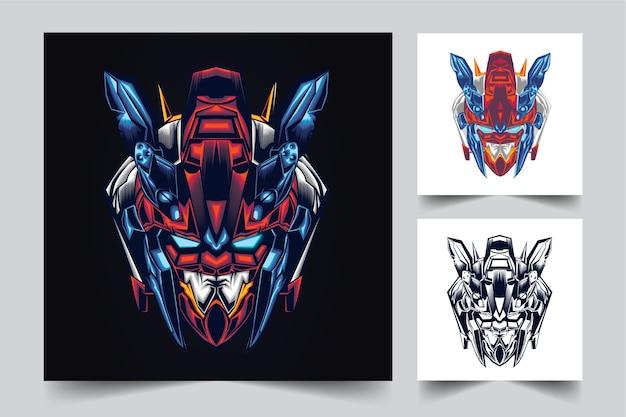 Diseño de logotipo de mascota de cabeza de gundam con estilo de concepto de ilustración moderna para mover, emblema