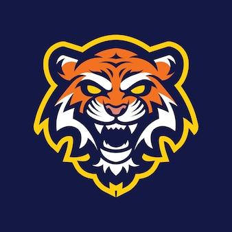 Diseño de logotipo de mascota de cabeza de tigre
