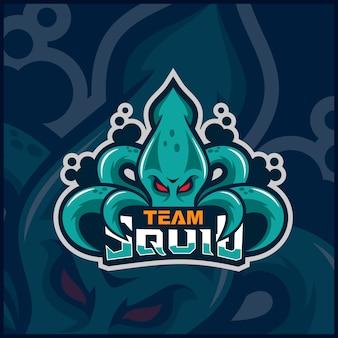Diseño de logotipo de mascota de calamar