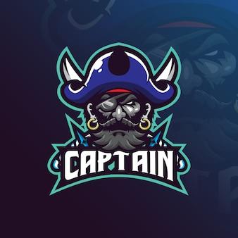Diseño de logotipo de la mascota del capitán pirata con estilo de concepto de ilustración moderna