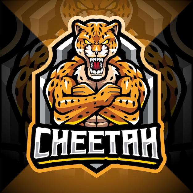 Diseño de logotipo de mascota cheetah esport
