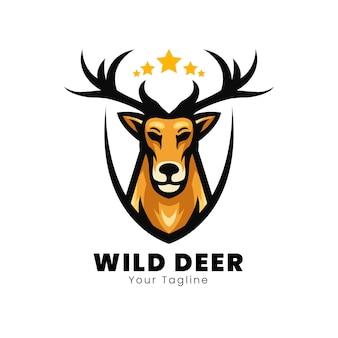 Diseño de logotipo de mascota de ciervo salvaje