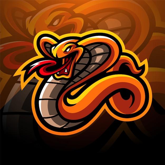 Diseño de logotipo de la mascota de cobra esport