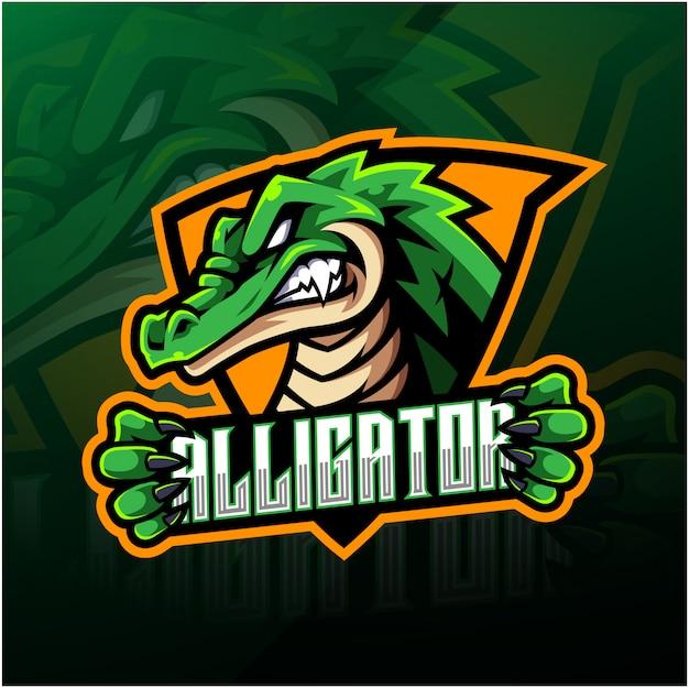 Diseño de logotipo de mascota de cocodrilo deportivo
