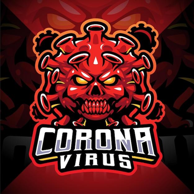 Diseño de logotipo de mascota corona virus esport