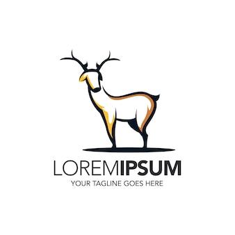 Diseño de logotipo de mascota de cuerno de ciervo de línea minimalista