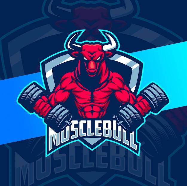 Diseño de logotipo de mascota de culturista muscular bull bull