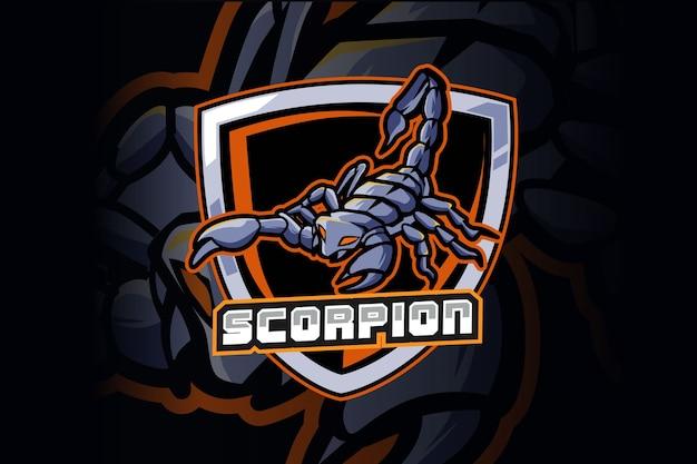 Diseño de logotipo de mascota de deporte y deporte scorpion