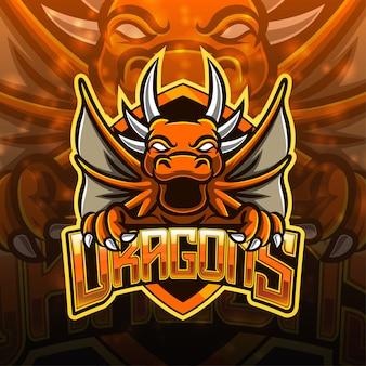 Diseño del logotipo de la mascota del deporte dragón