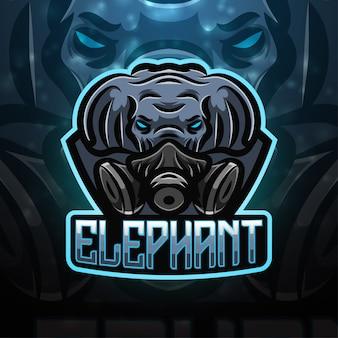 Diseño de logotipo de mascota de deporte elefante