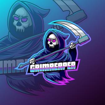 Diseño del logotipo de la mascota del deporte grim reaper