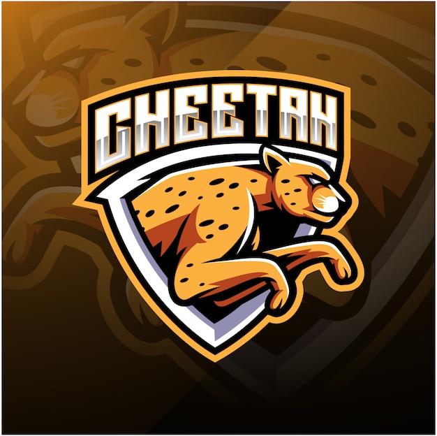 Diseño del logotipo de la mascota del deporte guepardo