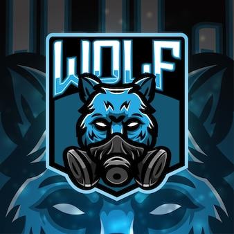 Diseño de logotipo de mascota de deporte lobo