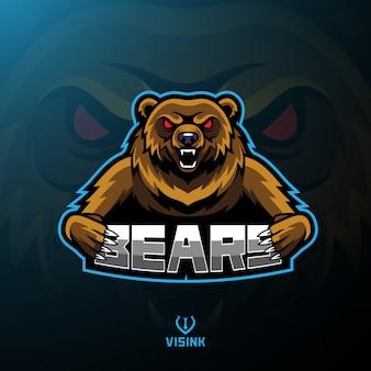 Diseño del logotipo de la mascota del deporte del oso.