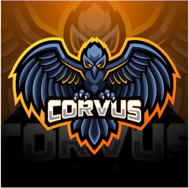 Diseño de logotipo de la mascota del deporte raven