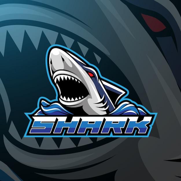 Diseño de logotipo de la mascota del deporte del tiburón.