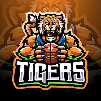 Diseño de logotipo de mascota de deporte de tigres